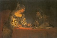 Arent de Gelder: Esther and Mordecai writing the first letter of Purim