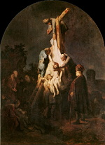Joseph of Arimathea watches as Jesus is taken from the cross.
