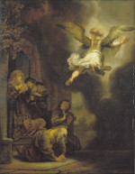 Rembrandt Harmensz. van Rijn: The angel leaves Tobias and his family