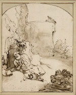 Rembrandt Harmensz. van Rijn: Jonah Praying before the Walls of Nineveh