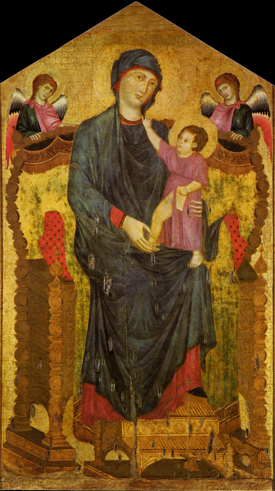 cimabue madonna enthroned Cimabue's madonna still shows the main traits of the byzantine style: a profusion of gold and an almost total absence of volume and perspective how precious, elaborated and refined is the throne where the virgin mary is delicately sitting.