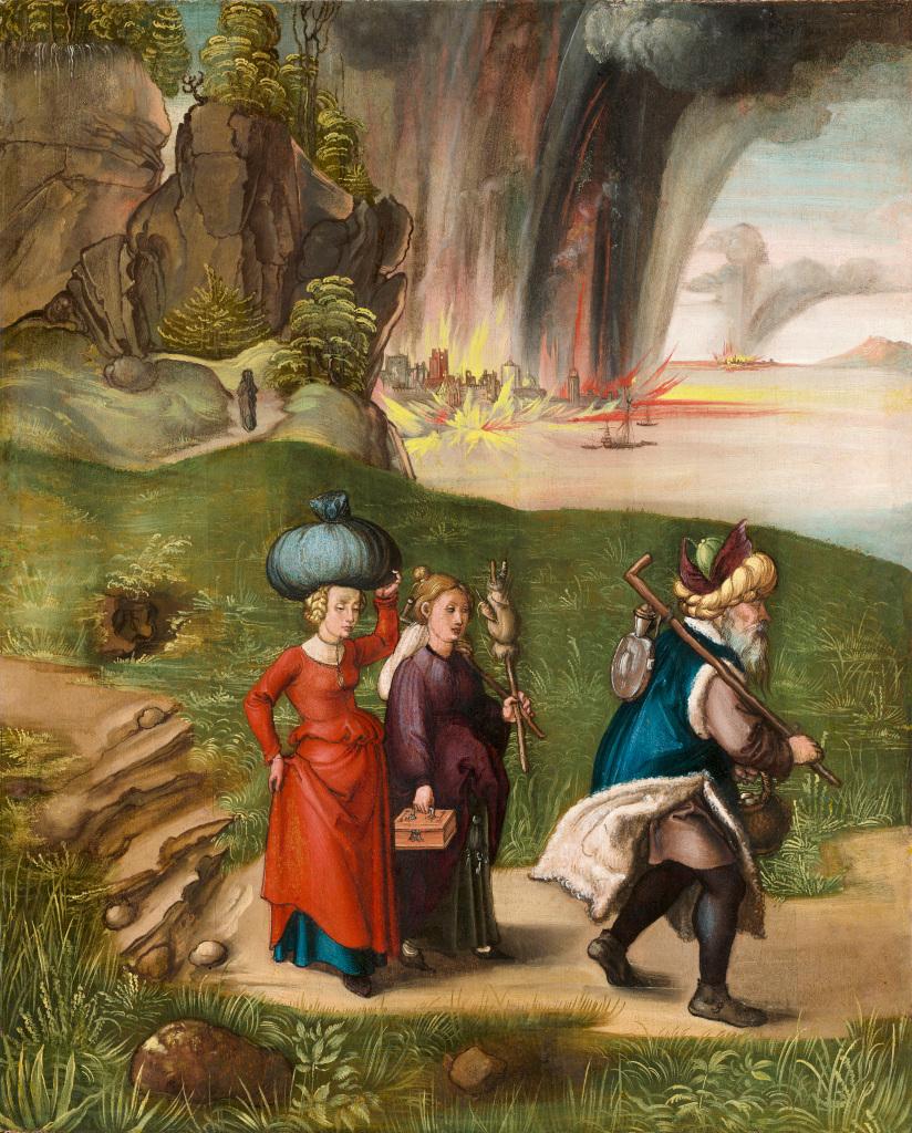 Albrecht Dürer: Lot and his family flee from Sodom
