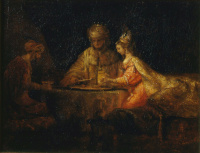 Rembrandt Harmensz. van Rijn: Haman and Ahasuerus visit Esther