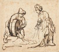 Rembrandt Harmensz. van Rijn: Boaz pouring Six Measures of Barley into Ruth's veil
