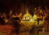 Rembrandt Harmensz. van Rijn: Samson Tells a Riddle at his Feast