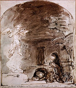 Rembrandt Harmensz. van Rijn: The Angel Ascends after Manoah's Sacrifice